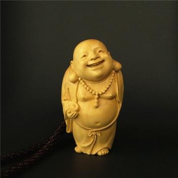 Wood buddha statue figurines Mini figure immortal sculpture Maitreya Retro Collection  future Buddha statues for decoration