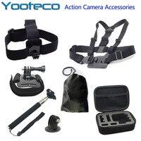 Go pro Sj4000 Аксессуары для камеры + чехол-контейнер+телескопический ручной штатив+установка штатива+винт+сумка для SJCAM SJ4000 SJ5000 SJ6000 GoPro Hero 3/2/1/3+