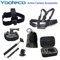 Go Pro Sj4000 Camera Accessories Containing Box Case Telescopic Handheld Monopod Tripod Mount Screw Bag SJ5000
