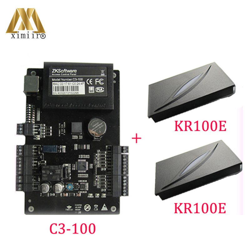 Amicable Zk C3-100 One-door Two-way Access Controller Panel+2 Pcs Kr100e Id Reader Access Control Systems Access Control