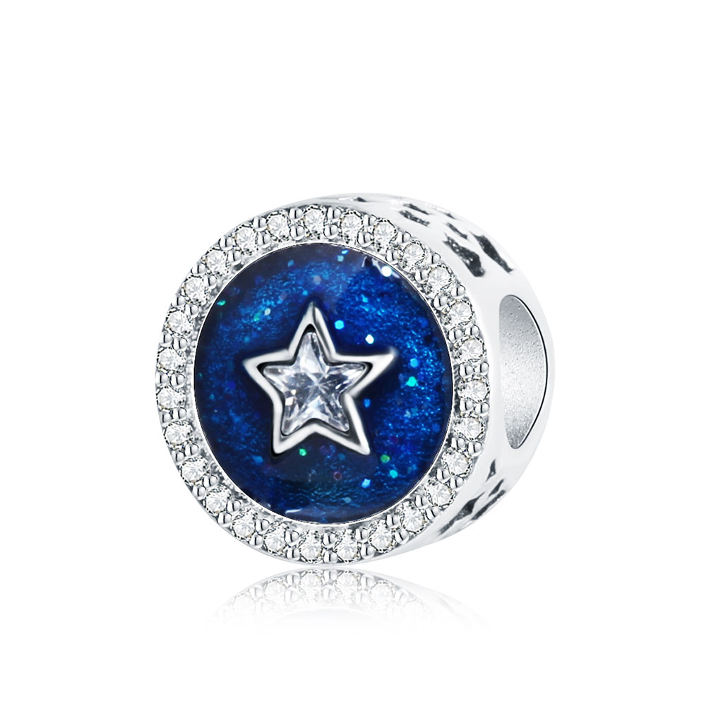 Fit Pandora Charm Original Bracelet 925 Sterling Silver Blue Enamel Star Clear Zircon Beads DIY Jewelry Accessories 2017 Spring