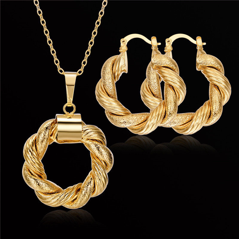 Brand New Collier Vintage Necklace And Earring Set Jewelry For Women Accessories Wholesale Gold Plated Gothic