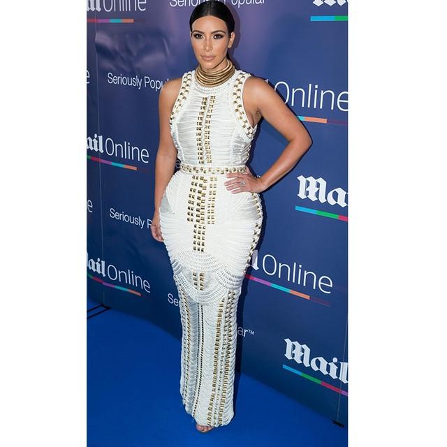 36dc8d6508 Leger Kim Kardashian Evening Sleeveless Celebrity Gold Studded Beaded Curve  Hugging White Maxi Dress Bandage Top