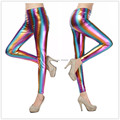 2016 Colorful Stripe Faux Leather Leggings Metal Texture Gradient Sexy Pencil Slim leggings Bright skin Nine pants Autumn Pants