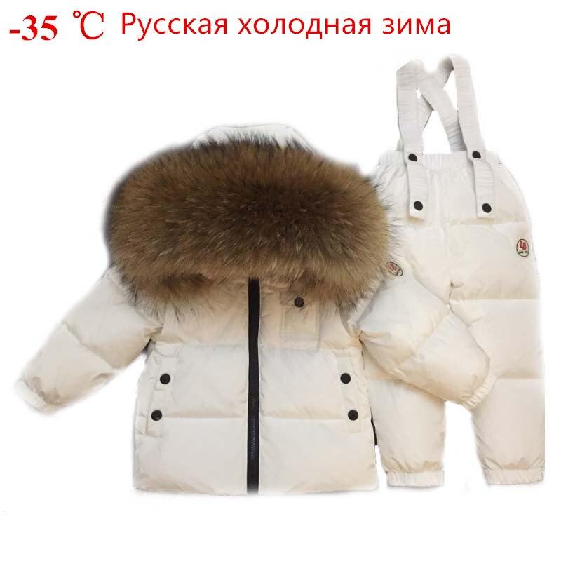 Hiver russe bambin vêtements ensemble bébé canard vers le bas costume garçons vêtements enfants survêtements enfants neige porter épais manteau fourrure dans l'ensemble