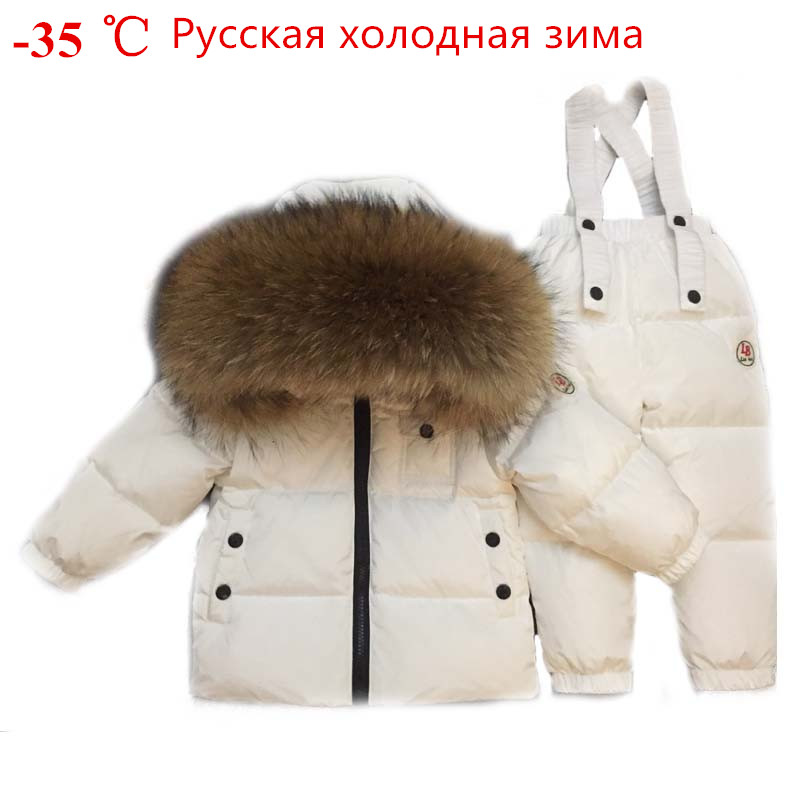 83db09b646c Russian Winter Toddler Clothes Set Baby Duck Down Suit Boys Clothing Kids  Tracksuits Children Snow Wear Thick Coat Fur Overall