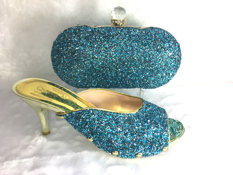 ФОТО SKY Blue Ladies Shoe and Bag Set Decorated with Diamonds African Women Shoes and Bag To Match for Parties Shoes and Bag Set