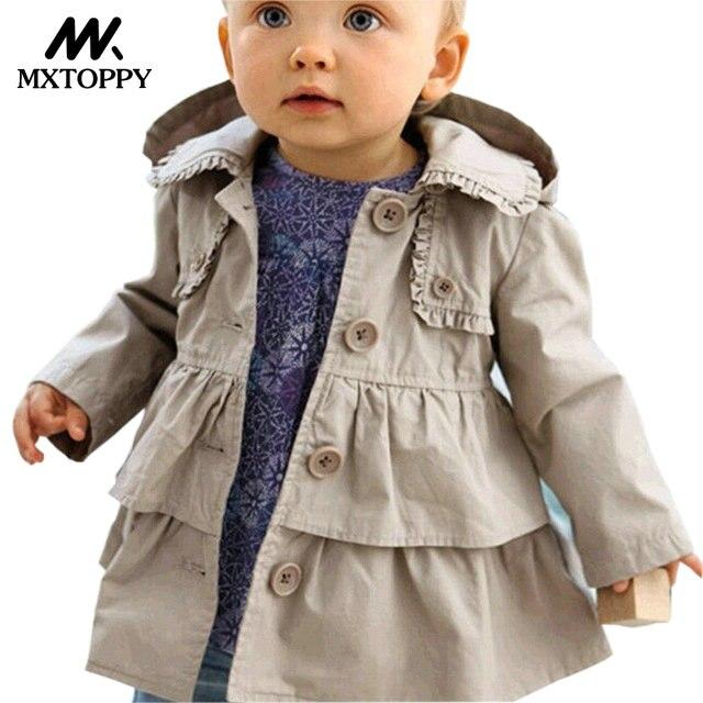 MXTOPPY Windbreaker For Girls 2018 Fashion Baby Girl Jackets For Girls Long Sleeve Hooded Casaco Infantil Baby Coat