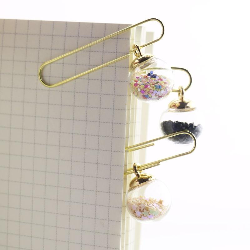 TUTU 5pcs/box Glass ball Paper Clips De Papel Notes DIY Bookmark Metal Binder Clips Fish Clips Notes Letter Paper Clips H0164 3