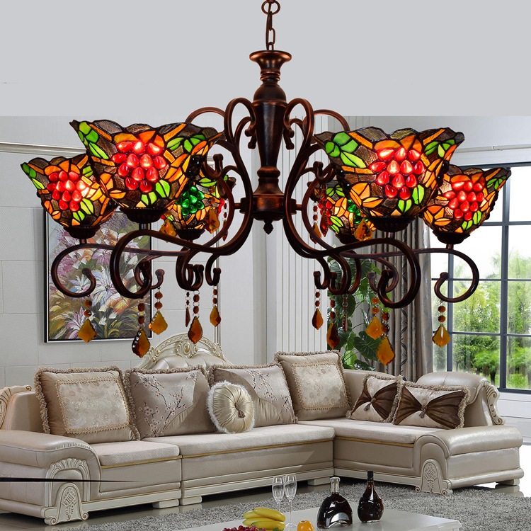 European Retro Pastoral Grape Lamp Living Room Master Bedroom Dining Chandelier Tiffany 8 Heads