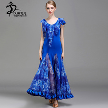 Ballroom Dance Competition Dresses Women Modern Waltz Ballroom Standard Costumes Ice Silk Fabric Ballroom Skirt Free Shipping