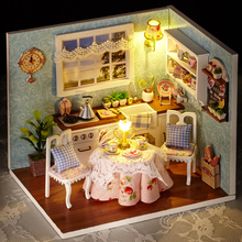 Cute Room DIY Doll House Furniture Miniature 3D Wooden Miniaturas Dollhouse With Dust Cover LED Gift Toys For Children H008 #E(China)