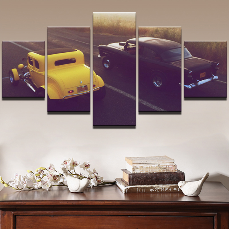 Oil Canvas Painting Picture Wall Art Home Decoration 5 Panel Black And Yellow Car For Living Room Modern Printing Type PENGDA