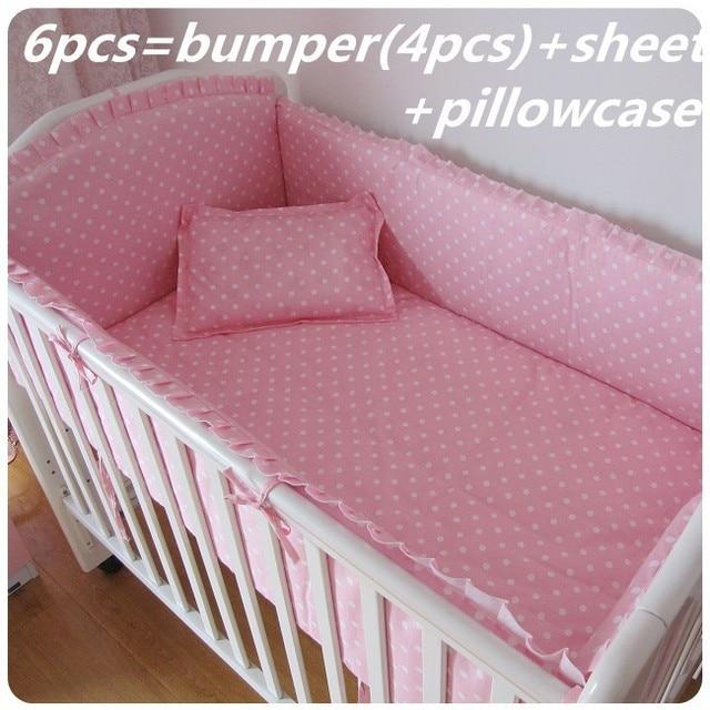 6 7pcs Pink Baby Bedding Sets For Kids Crib