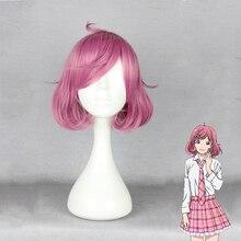 애니메이션 noragami ebisu kofuku 코스프레 가발 짧은 핑크 내열성 합성 머리 코스프레 의상 가발 + 가발 모자