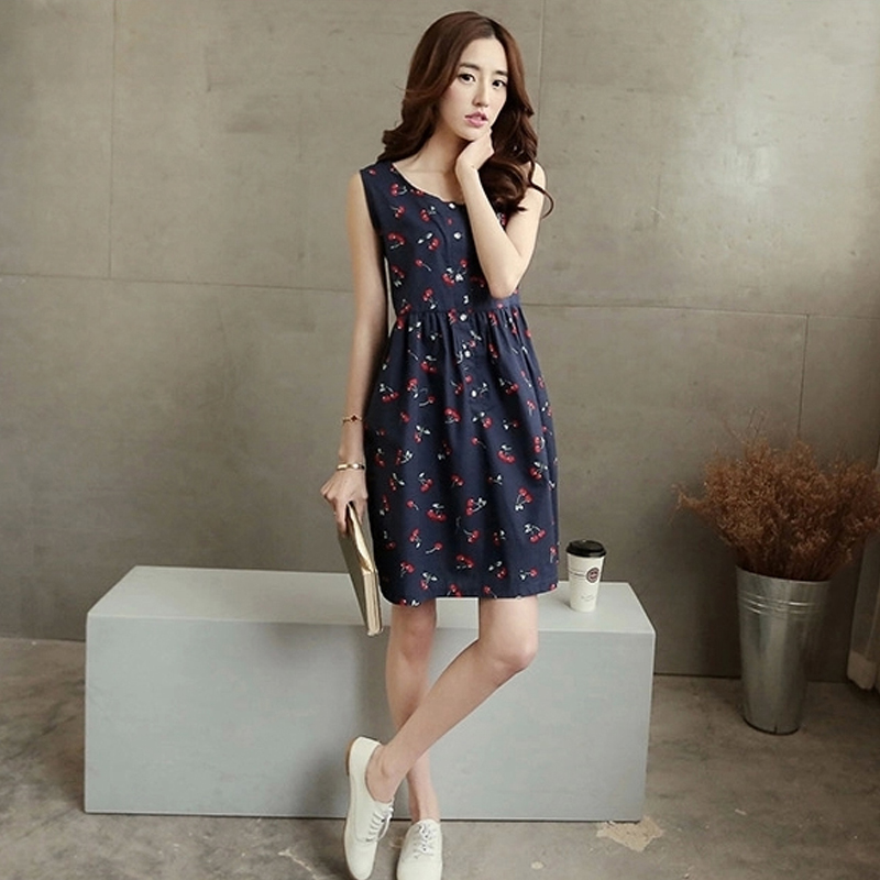 055ecc7fd559 Korean Casual Maternity Dress Clothing Blue White Cherry Dresses For  Pregnant Women Pregnancy Wear Loose Clothes Mothers Dress-in Dresses from  Mother & Kids ...
