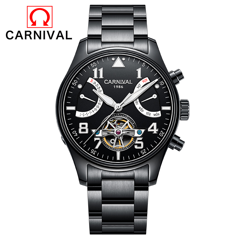 Mens Automatic mechanical watch tourbillon clock stainless steel Casual business wristwatch relojes hombre top brand CARNIVAL mens watches automatic mechanical watch mens stainless steel casual business wristwatch relojes hombre top brand burei luxury
