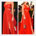 YSZ360 Hannah Davis Red Chiffon One Shoulder Asymmetrical Celebrity Dresses Sexy Hollow Waist Sleeveless Long Evening Dress