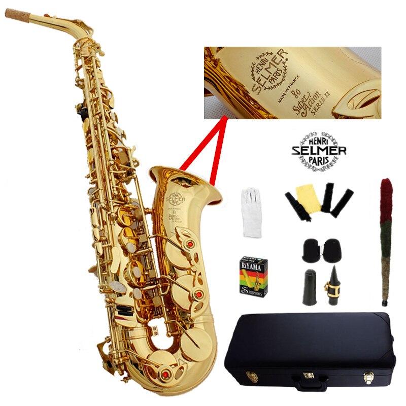 Francia Selme SAS 802 alto saxophone Eb sax Elettroforesi oro saxofone strumenti musicali professionali boccaglio & Hard boxs