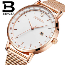 Genuine Luxury BINGER Brand Mens Quartz slim and stylish steel leather watch calendar male waterproof casual ultrathin table