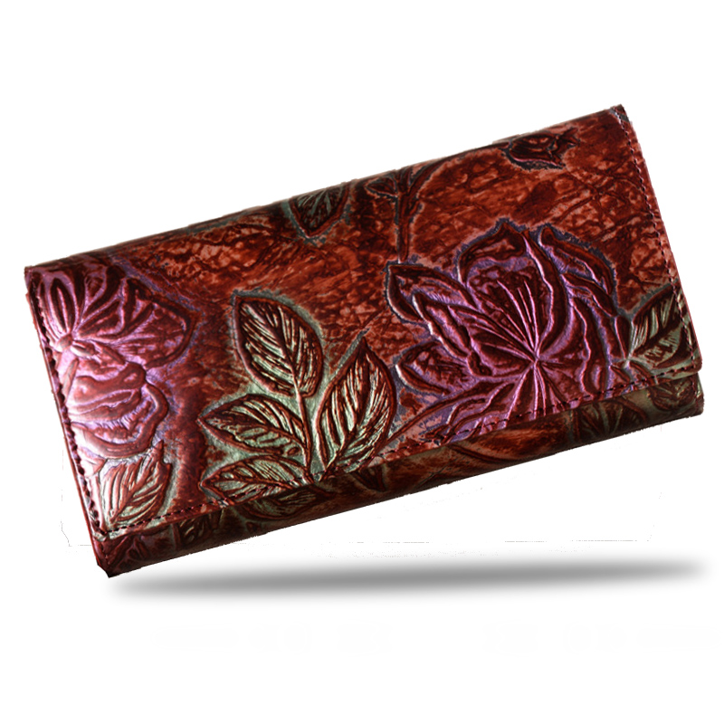 FLOWER Women Genuine Leather Wallet Long Leather Coin Purse Hasp Clutch Purse Wallet Female Lady Card Holder Bag