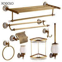 Xogolo Wholesale And Retail Antique Jade Mosaic Paper Towel Holder Shelf Towel Ring Brass Brushed Bathroom Hardware Sets