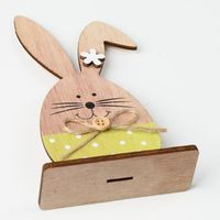 Easter Decoration Wood Easter Rabbit With Egg Ribbon Stand DIY Ornament For Children Kids Gift Craft
