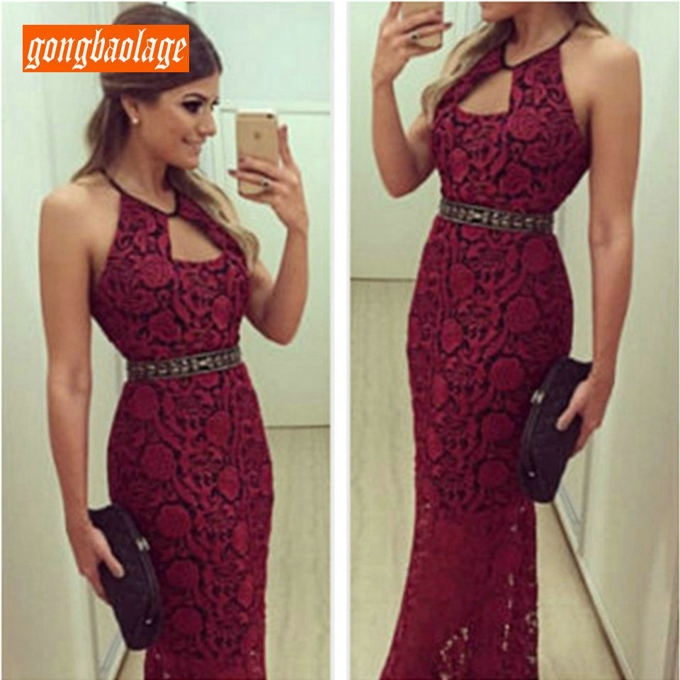 fashionable Burgundy Lace   Prom     Dress   Long Women 2019 New   Prom     Dresses   Party Halter Neck Mermaid Floor Length Formal Evening Gown