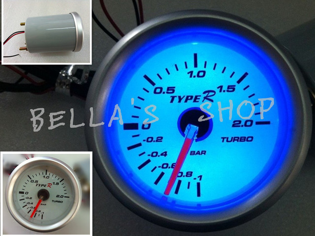 brand new 52mm type R turbo boost bar (also have PSI) meter electrical gauge blue led white face clear lens bella's shop