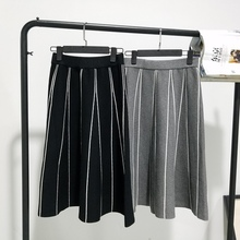 Skirts Womens Winter Style Vintage Striped Slim A Line High Waist Knitted Long Skirt Black Gray Fringe Skirt B162