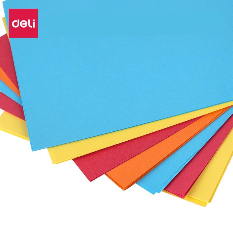 Deli 7391/7393 Office A4 Colorful Copy Paper 210mm*297mm 100 Sheets/bag Computer Print Four Color Office Copy Paper