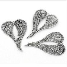 3 шт старинные серебряные крылья ангела Подвески кулон для изготовления ювелирных изделий Выводы аксессуары, Браслеты DIY
