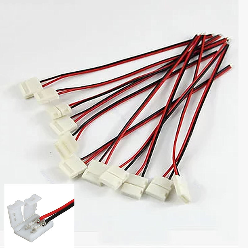 10pcs/lot, For LED strip 10mm 2pin 5050 5630 single color strip LED connector, Free Soldering PCB board connector wire dc connector to 2pin 8mm 10mm connector with switch for single color led strip
