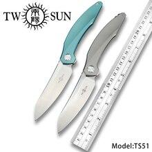 TWOSUN  d2 blade folding Pocket Knife tactical knives camping knife hunting outdoor tool Titanium TC4 EDC Fast Open TS51 цена и фото