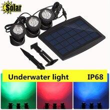 NUEVO 1 UNID panel solar con Energía Solar 3 Submarino Spotlight Bombillas 18 LEDS RGB/fresco blanco Jardín de la Piscina estanque de La Lámpara Luces Subacuáticas
