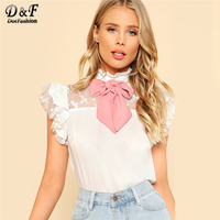 Dotfashion Tie Neck Embroidered Mesh Yoke Top 2018 White Sleeveless Ruffle Floral Woman Top Stand Collar