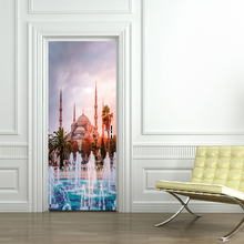 Muslim Islam Religious Wall Door Stickers Fake Door Pattern Living Room Wallpaper Wall Stickers Home Decor tree shaded trail pattern door art stickers