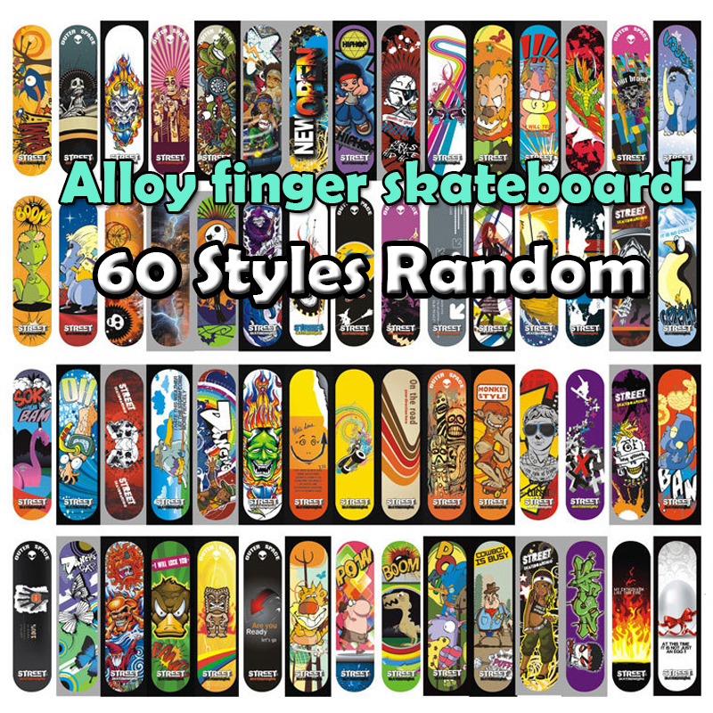 60 Styles Alloy Stand FingerBoard Mini Boards 1 Pcs With Retail Box Skate Trucks Finger Skateboard For Kid Toys Children Gift F2