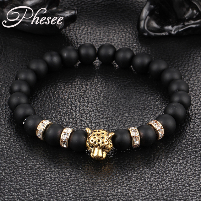 Phesee Antique Crystal Gold and Silver Plated Buddha Leopard Head Bracelet Charm Yoga Bracelets For Men Women Pulseras E0432
