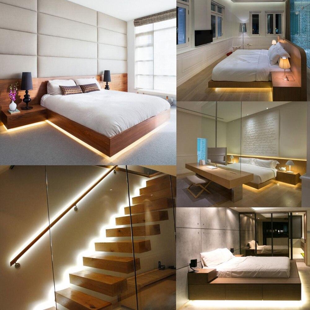 Onder Bed Bewegingssensor Dimbare Verlichting, Warm Wit LED Strip ...
