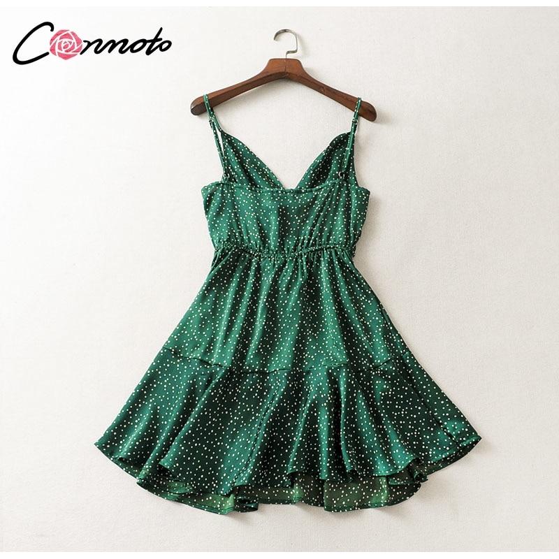 Conmoto 19 Summer Fashion Strap Backless Stain Short Dress Women Casual High Street Polka Dot Dress Beach Holiday Vestidos 10