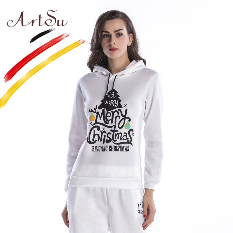ArtSu Winter Merry Christmas Letter Print Hooded Pullover 2017 Black White Casual Women Hoodies Long Sleeve Sweatshirts Moletom