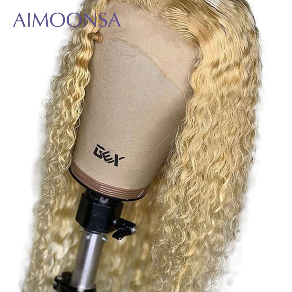 613 Blonde Color 13x6 Lace Front Human Hair Brazilian Curly Wigs Remy Pre Plucked Invisible Transparent Lace Aimoonsa