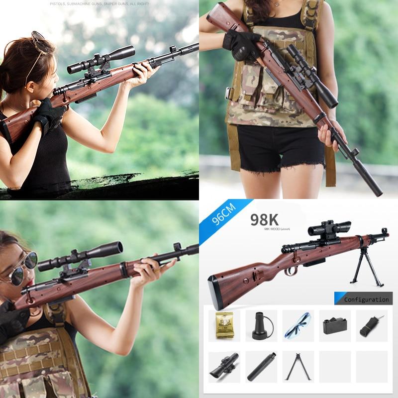 98K Sniper Rifle Water Paintball Toy Gun Soft Bullets Suit for Nerf Gun Toy PUBG 98K Guns Toy BUllets Suit for Nerf Toy Guns chic multilayered geometric bullets choker