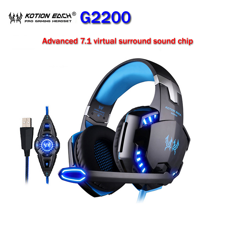 KOTION EACH G2200 Professional Gaming Headphone Stereo Headband Game Headsets PC Gamer USB7.1 Vibration Breathing LED Light Mic kotion each g7000 gaming headset 7 1 usb wired headphone w mic surround vibration led light headband earphones for pc gamer