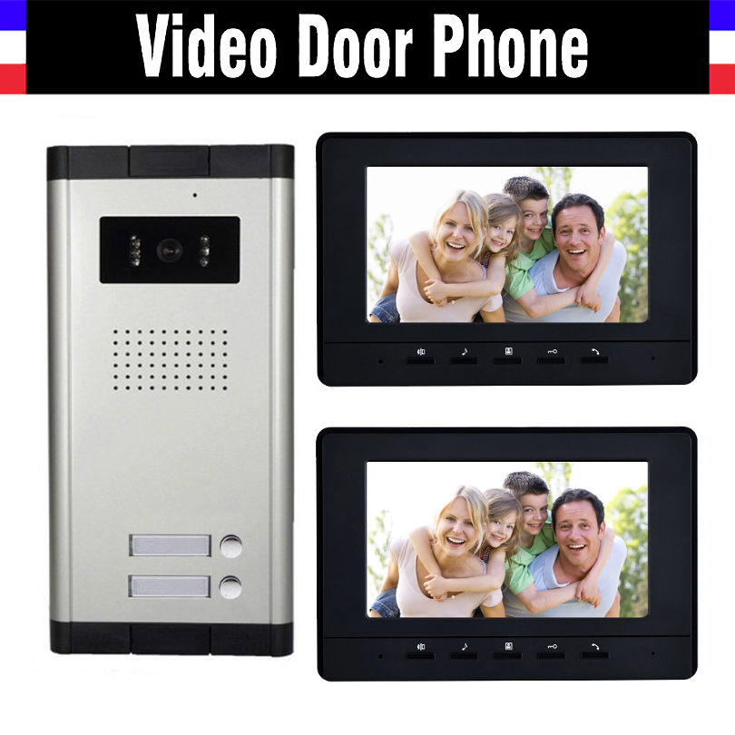 2 Units Apartment Video Intercom System 7 Inch Monitor Video Door Phone Intercom System Wired  Home Video Doorbell kit apartment intercom system 7 inch monitor 6 units apartment video door phone intercom system video intercom doorbell kit