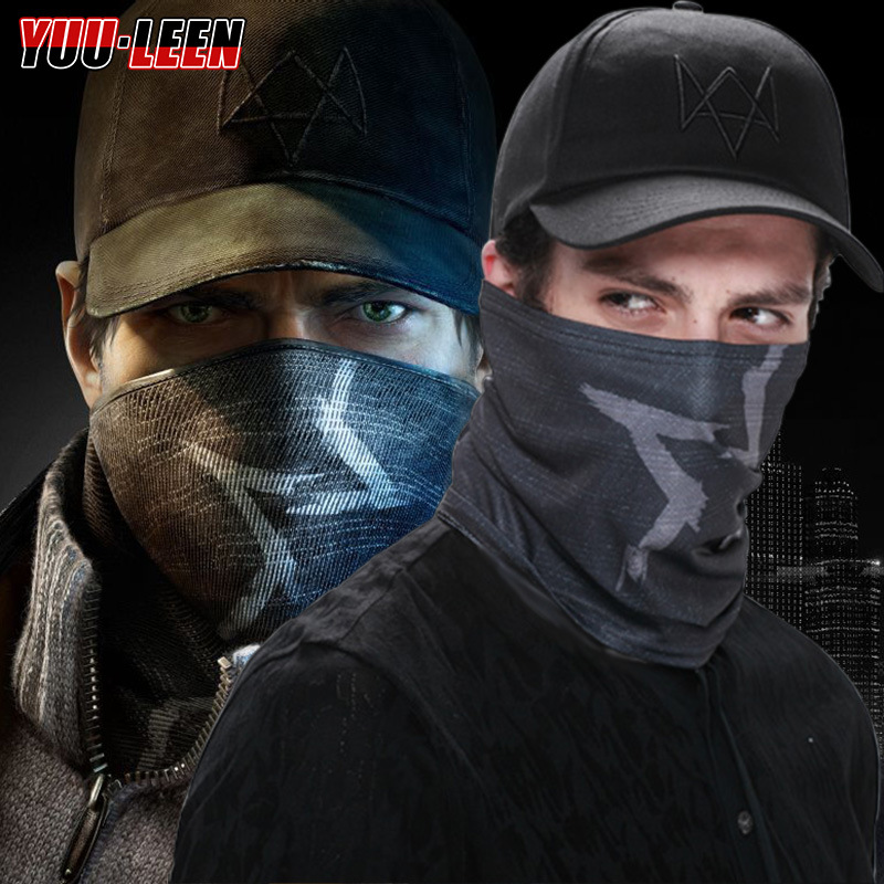 2 Pieces/set Watch Dogs 2 Aiden Pearce Face MASK Cap Cotton Hat Set Costume Cosplay Mask Hat Mens 6 Panel watch dogs mask