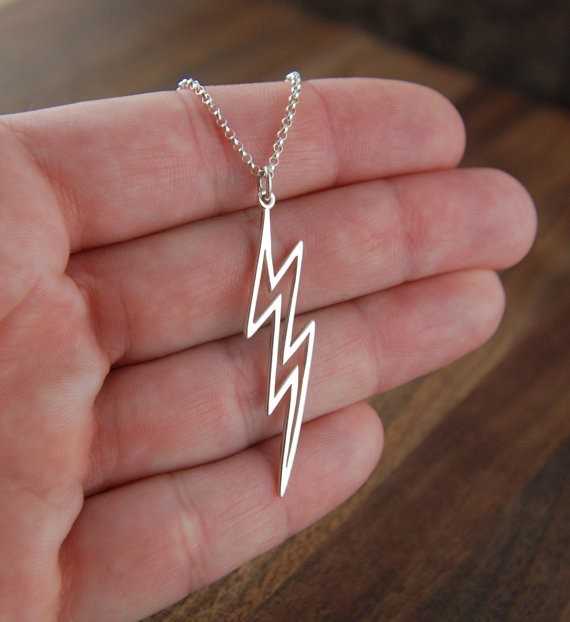 Large Lightning Bolt Necklace Silver Lightning Pendant