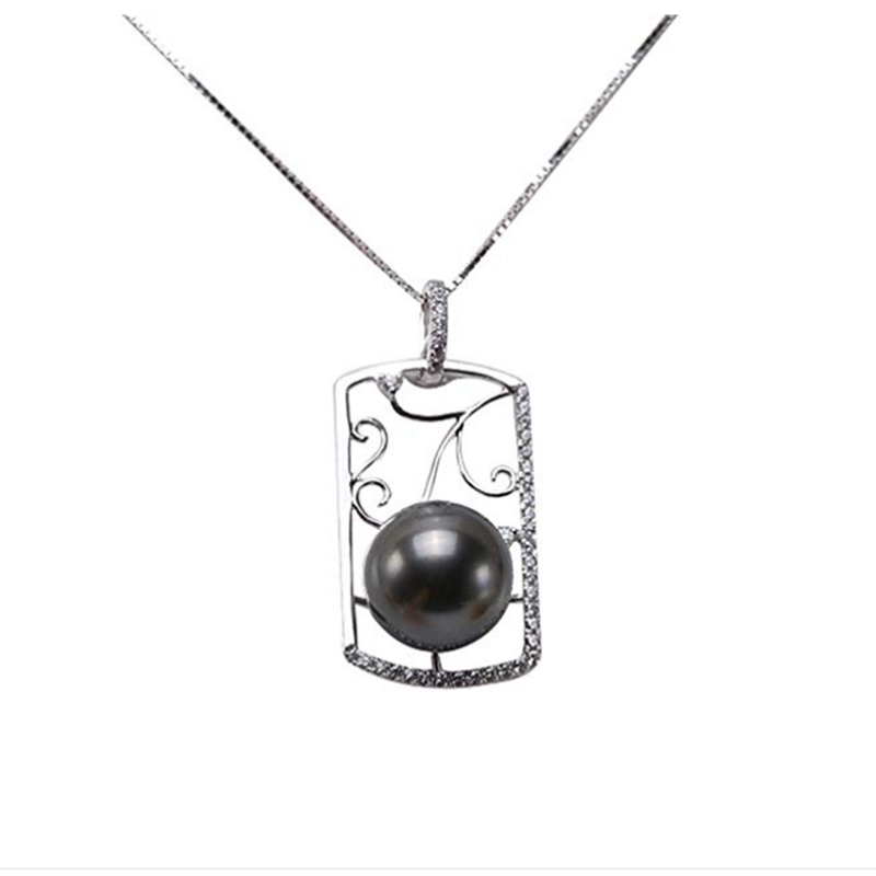 JYX Tahiti Pearl Pendant Necklace 14k White Gold Natural 11mm Black Round Tahiti Pearl Pendant Tahiti Necklace женские сланцы tahiti