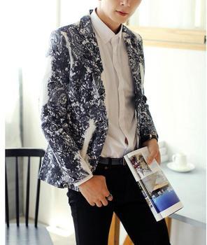 Masculino Floral Blazer Leather Jacket Mens Blazers Leather Homens Blazer Costume Jaquetas